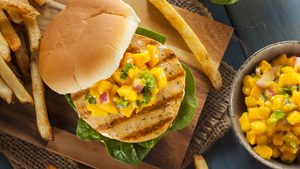 Chicken Burgers with Tropical Fruit Salsa
