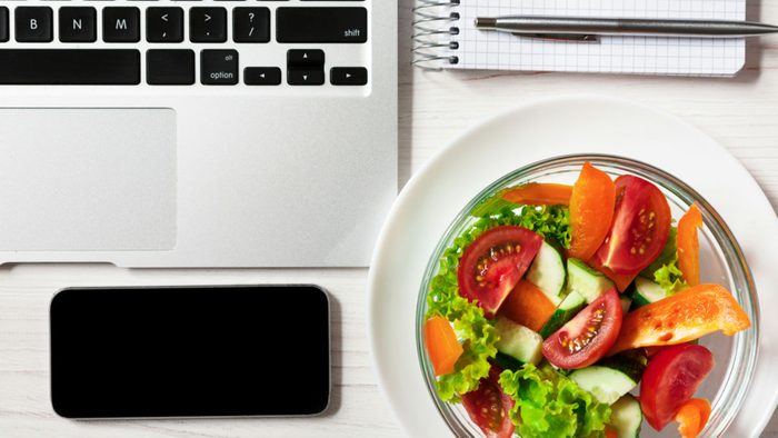 science of calories, a salad and a laptop