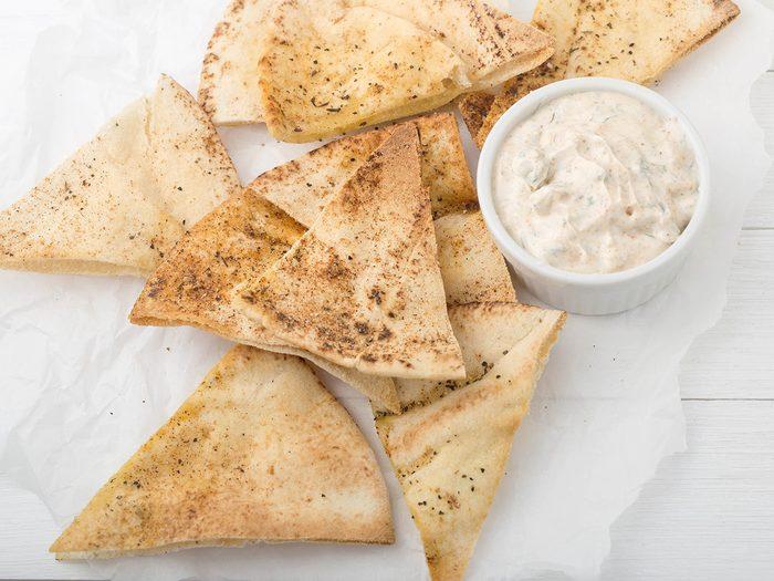 Snacks, pita chips