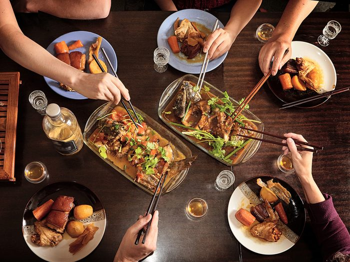 Chinese family dinner | Dinner,with,friends,at,the,table.,view,from,above.,chinese