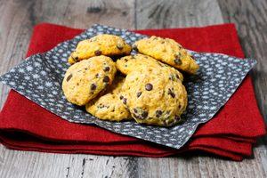 Pumpkin Almond Chocolate Chip Cookies