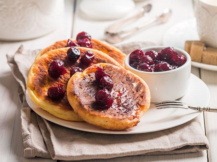 lemon ricotta pancakes with cherry sauce   pancake recipes   citrus recipes