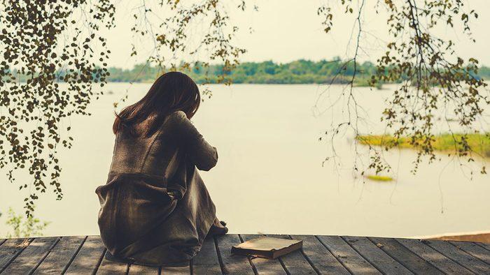 Benefits of nature, woman sitting
