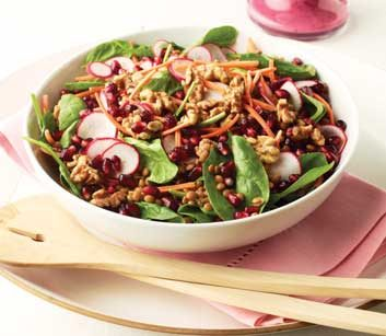 Spinach & Lentil Salad with Pomegranates, Walnuts and Blueberry Vinaigrette
