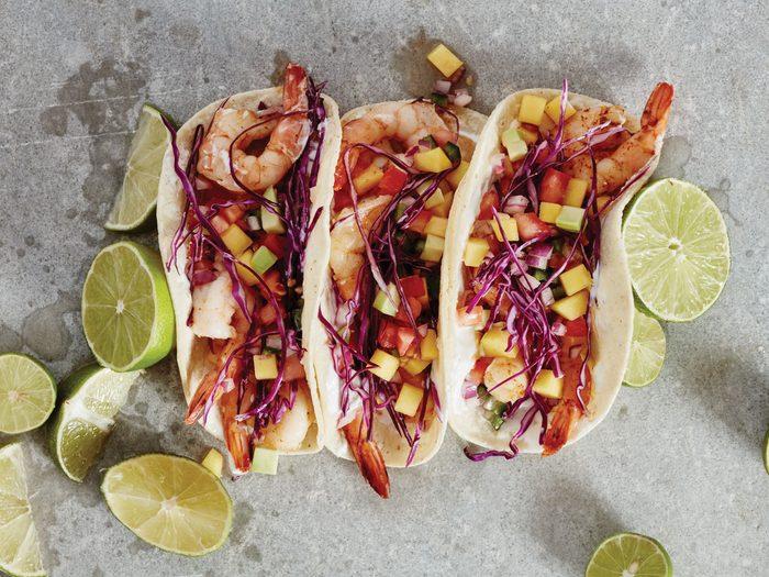 Chili Shrimp Tacos with Mango Avocado Salsa