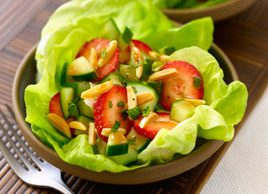 Strawberry-Cucumber Salad with Almonds and Mint in Strawberry Vinaigrette