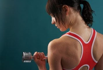 back exercise dumbbell weight woman
