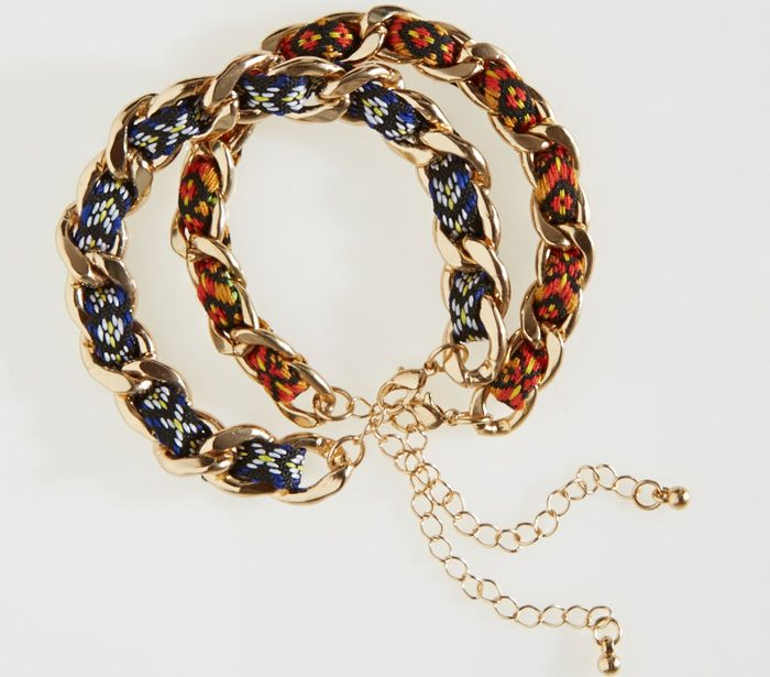 Embroidered ribbon and chain bracelet