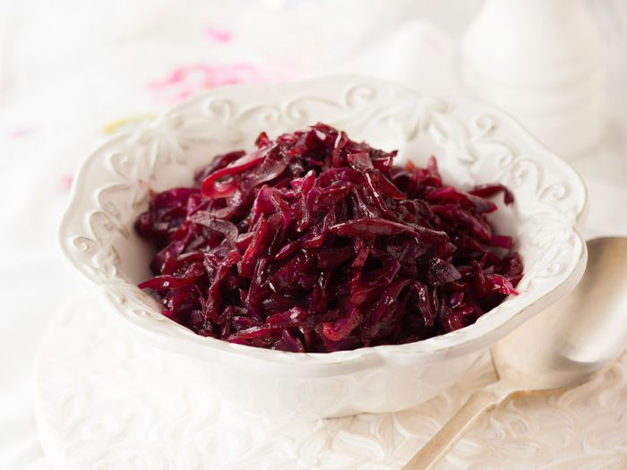 Braised Red Cabbage with Apples and Sausage