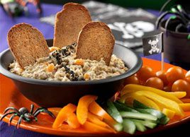 Roasted Eggplant and Pepper Dip with Black 'Bugs'