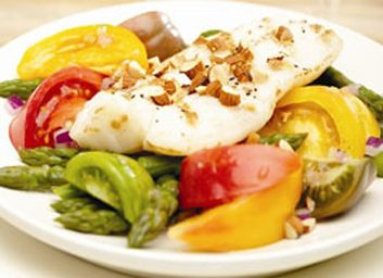 grilled fish and salad