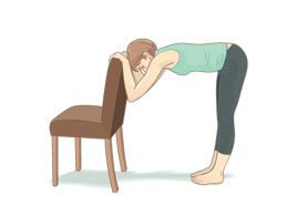 Hamstring stretch with chair