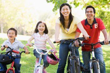 healthy Canadian family biking