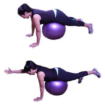 4. Kneeling Alternate Arm and Hip Extension (with Ball)