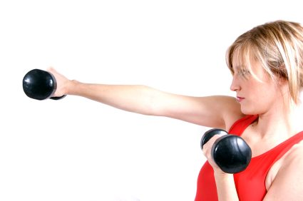 woman arms weights