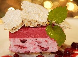 Cranberry Semifreddo with Toasted Almond Meringue