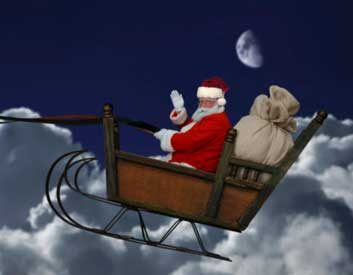 santa sleigh night dark