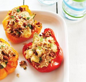 Peppers stuffed with Turkey, Cheese and Rice