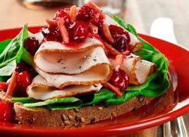 Open-faced Turkey Sandwiches with Cranberry Almond Sauce