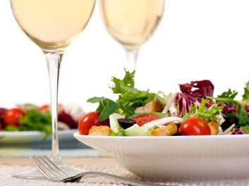 wine/salad