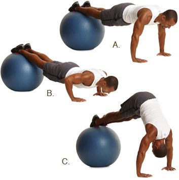 Exercise ball push-up with pike