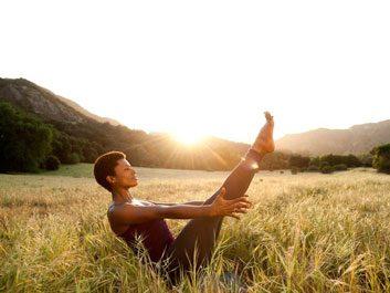 Yoga in a field