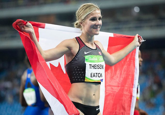 RIO DE JANEIRO, BRAZIL- AUGUST 14: Canada's Brianne Theisen-Eaton won a bronze medal in the women's heptathlon at the Olympic Stadium 2016 Rio de Janeiro, Brazil during the 2016 Olympic Summer Games. Lucas Oleniuk-Toronto Star (Lucas Oleniuk/Toronto Star via Getty Images)