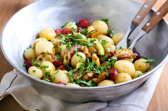 Vegetables, warm potato salad