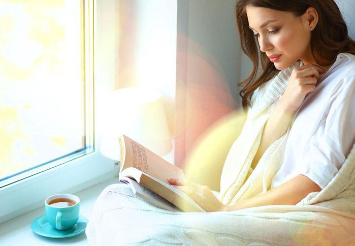 reading with tea