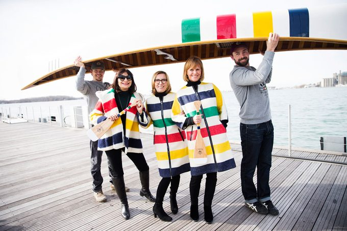 From left to right: Olympian Simon Whitfield; Canadian fashion icon Jeanne Beker; Liz Rodbell, President of Hudson's Bay; Valerie Pringle, Co-Chair of the Trans Canada Trail Foundation: Olympian Mark Oldershaw