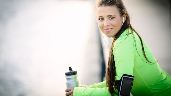 woman looking proud after a run