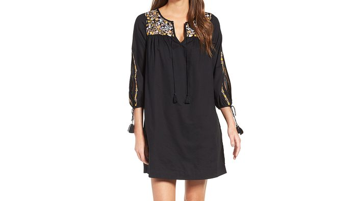 Embroidery fashion black dress by Madewell