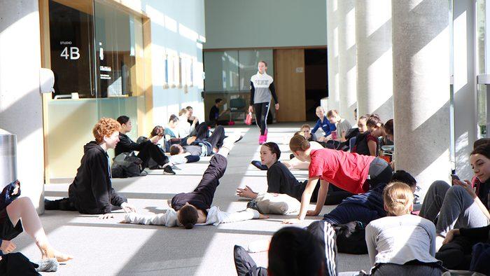 ballerinas taking a break betwen practice