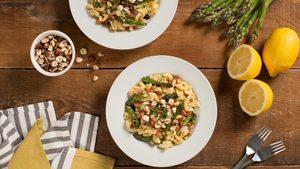 Asparagus and Pancetta Gluten-Free Pasta with Hazelnuts