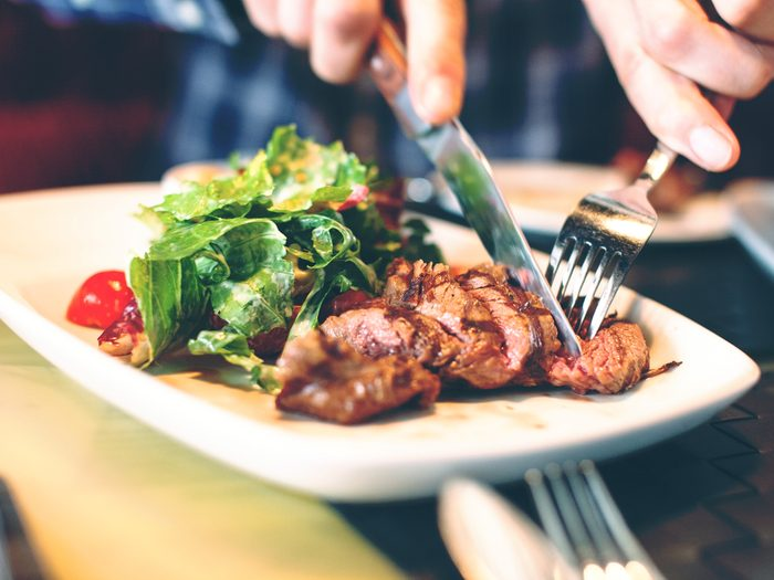 Eating measured amounts of meat can help reduce bloating