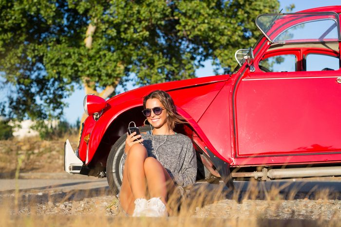 stress-free commute- woman listening to music
