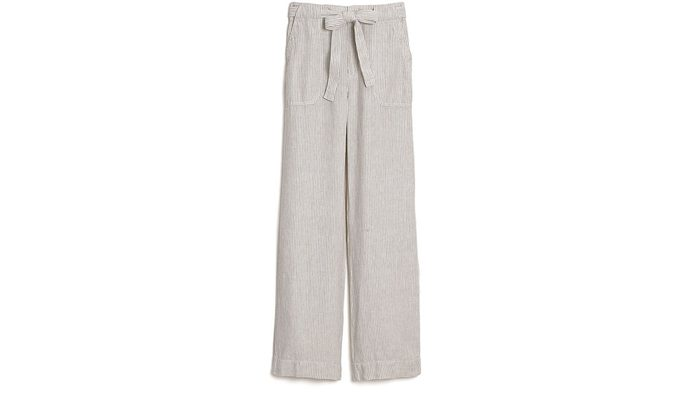 summer layering pants, linen striped pants with a drawstring waist
