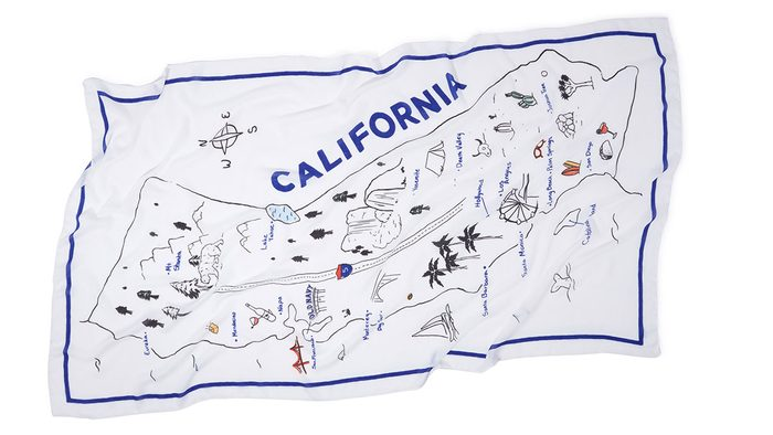 summer layering scarf, a rectangle scarf with a California map