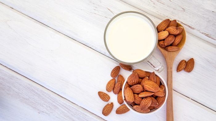 nutrient deficient calcium, a glass of almond milk