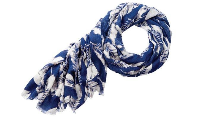 summer blue trends, indigo scarf