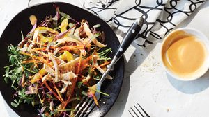 Indonesian Rainbow Salad With Chicken And Peanut Dressing
