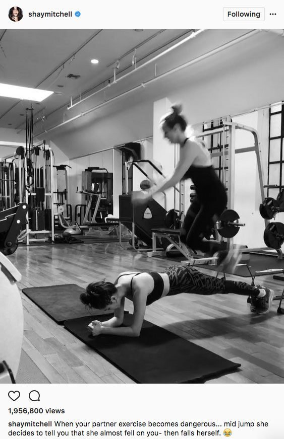 Shay Mitchell stay fit instagram, Shay Mitchell does plank jumps with a pal