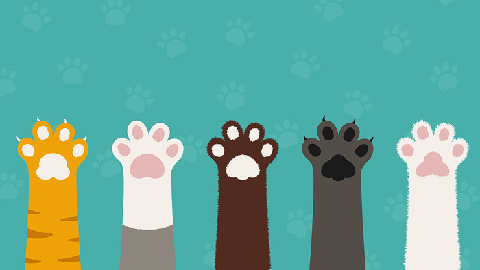 silent signs of asthma, cats and dogs as triggers, illustration of paws