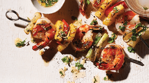 Honey Lime Grilled Shrimp And Pineapple Skewers