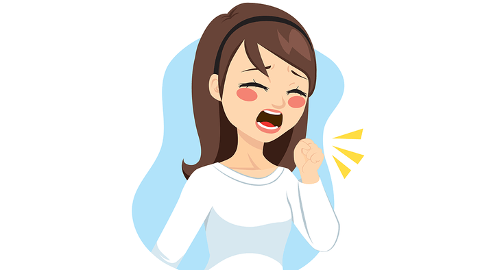 silent signs of asthma, coughing, illustration of a woman coughing