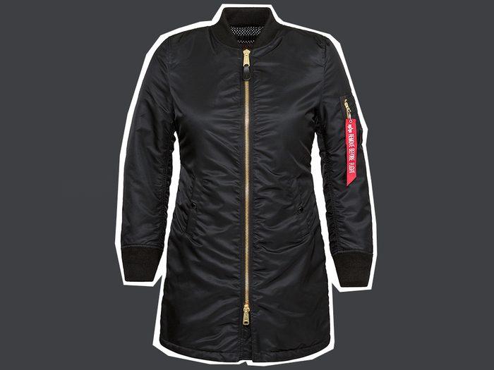 flattering long puffer coats, Alpha Industries MA-1 Long Fill jacket