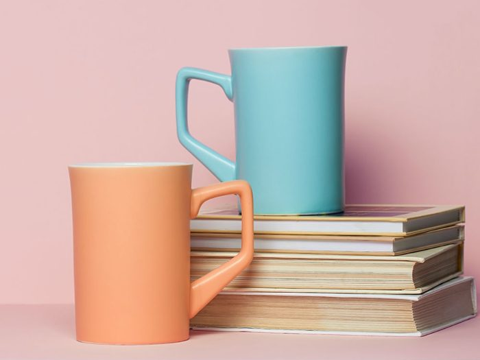health books and coffee mugs