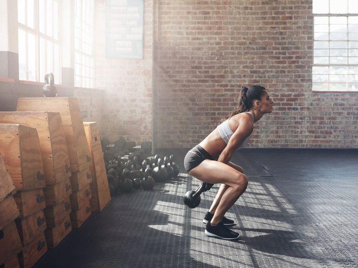 best arm exercises for women two-arm kettlebell swing