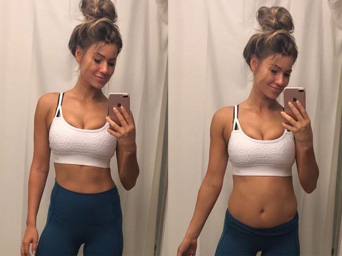 Anna Victoria shows off bloating in mirror