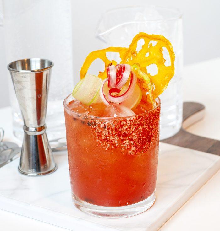 Strawberry-Rhubarb Caesar cocktail